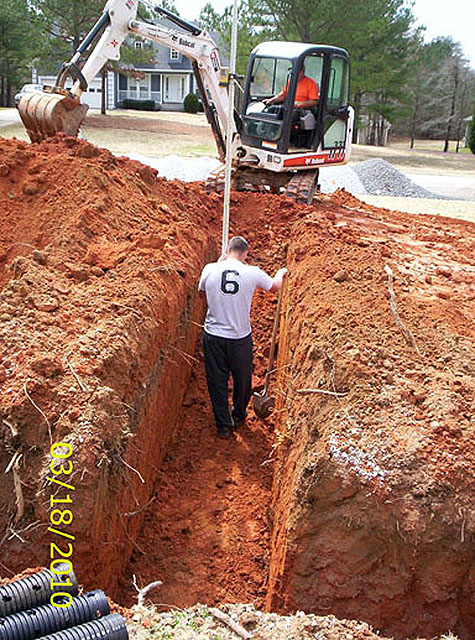 Preparation of trenches GSI provides full service septic tank repair and septic system maintenance