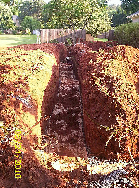 Overview of completed trench GSI provides full service septic tank repair and septic system maintenance