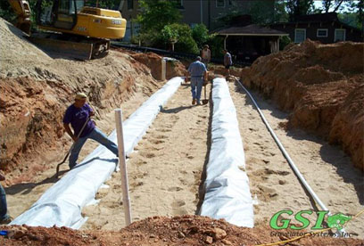 geo-fabric installed over Eljen modules GSI is your source for septic system repair in Northeast Georgia