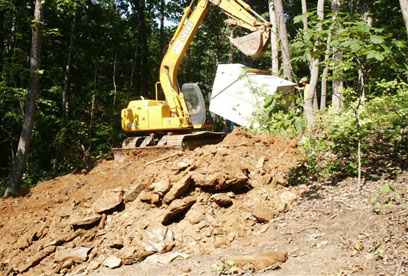 bringing septic tank in to be set Northeast Georgia based GSI offers septic system installation, maintanance and repair